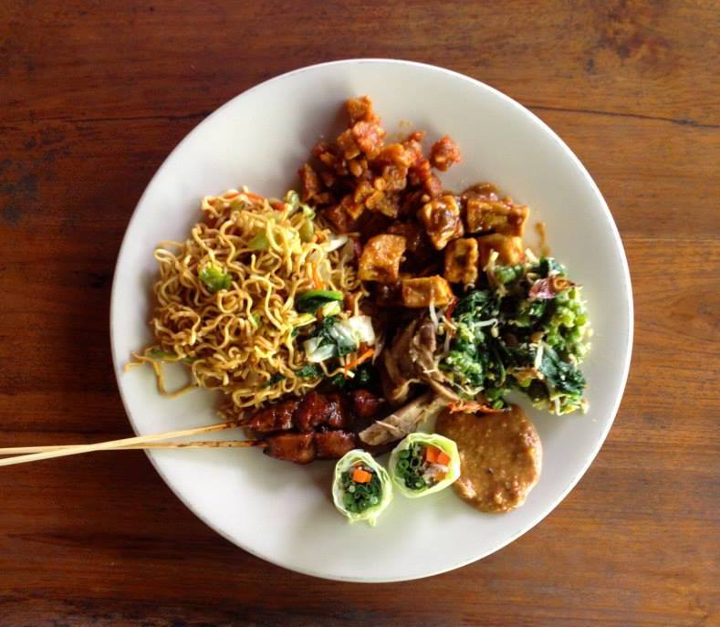 Indonesian food on white plate.